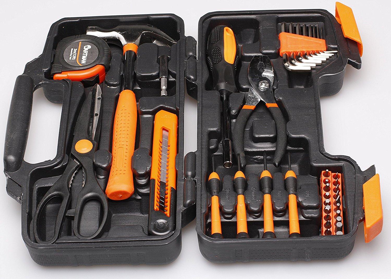 ed768f0764b Cartman Orange 39-Piece Tool Set – General Household Hand Tool Kit with Plastic  Toolbox Storage Case